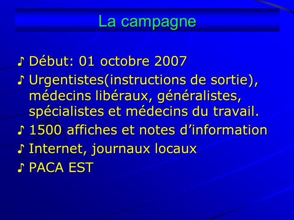 La campagne Début: 01 octobre 2007 Début: 01 octobre 2007 Urgentistes(instructions de sortie), médecins libéraux, généralistes, spécialistes et médeci