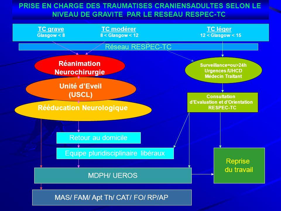 Réanimation Neurochirurgie Rééducation Neurologique Unité dEveil (USCL) Surveillance=ou>24h Urgences /UHCD Médecin Traitant Consultation dEvaluation e