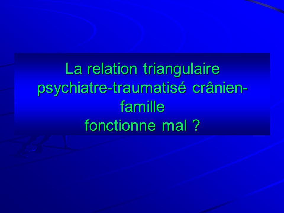 La relation triangulaire psychiatre-traumatisé crânien- famille fonctionne mal ?