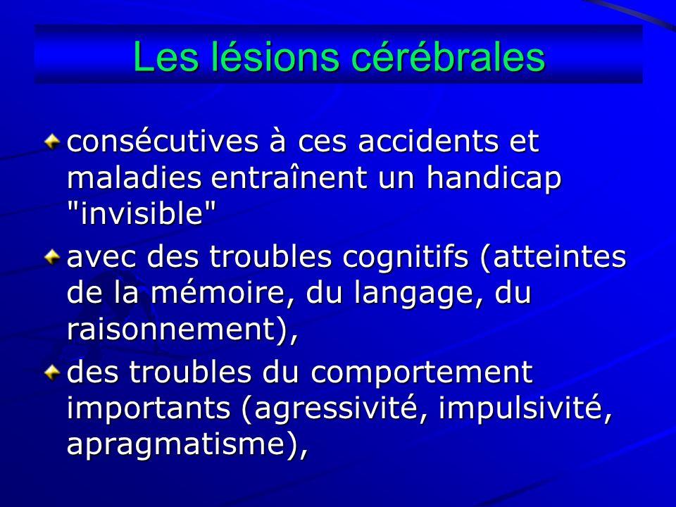 Les lésions cérébrales consécutives à ces accidents et maladies entraînent un handicap