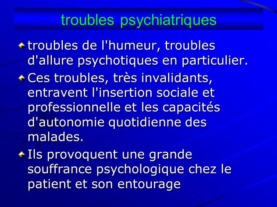 troubles psychiatriques troubles de l'humeur, troubles d'allure psychotiques en particulier. Ces troubles, très invalidants, entravent l'insertion soc