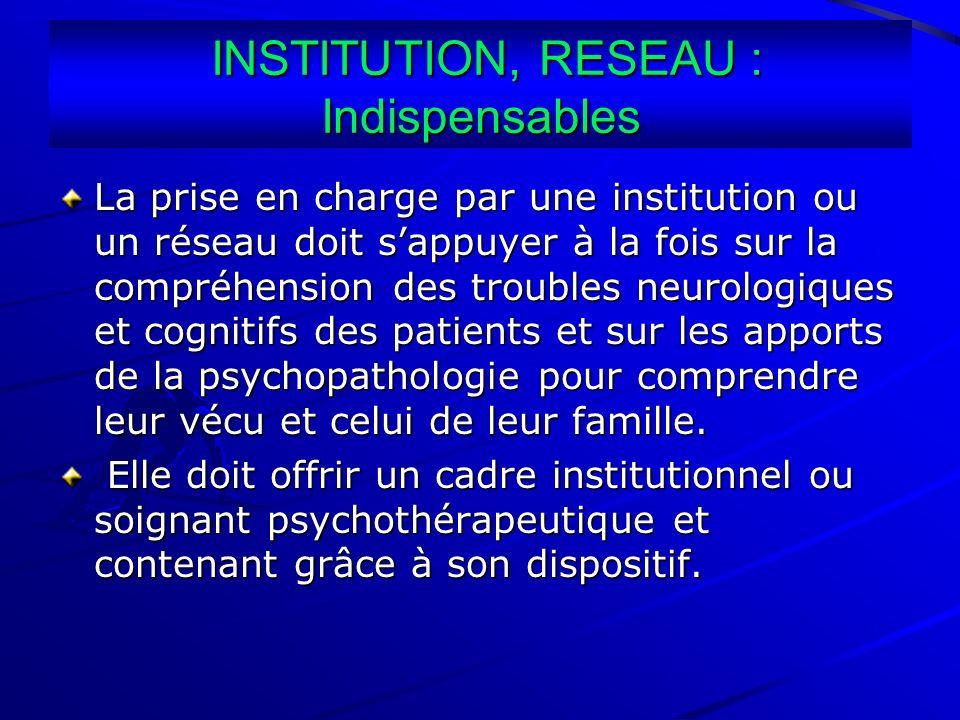 INSTITUTION, RESEAU : Indispensables INSTITUTION, RESEAU : Indispensables La prise en charge par une institution ou un réseau doit sappuyer à la fois