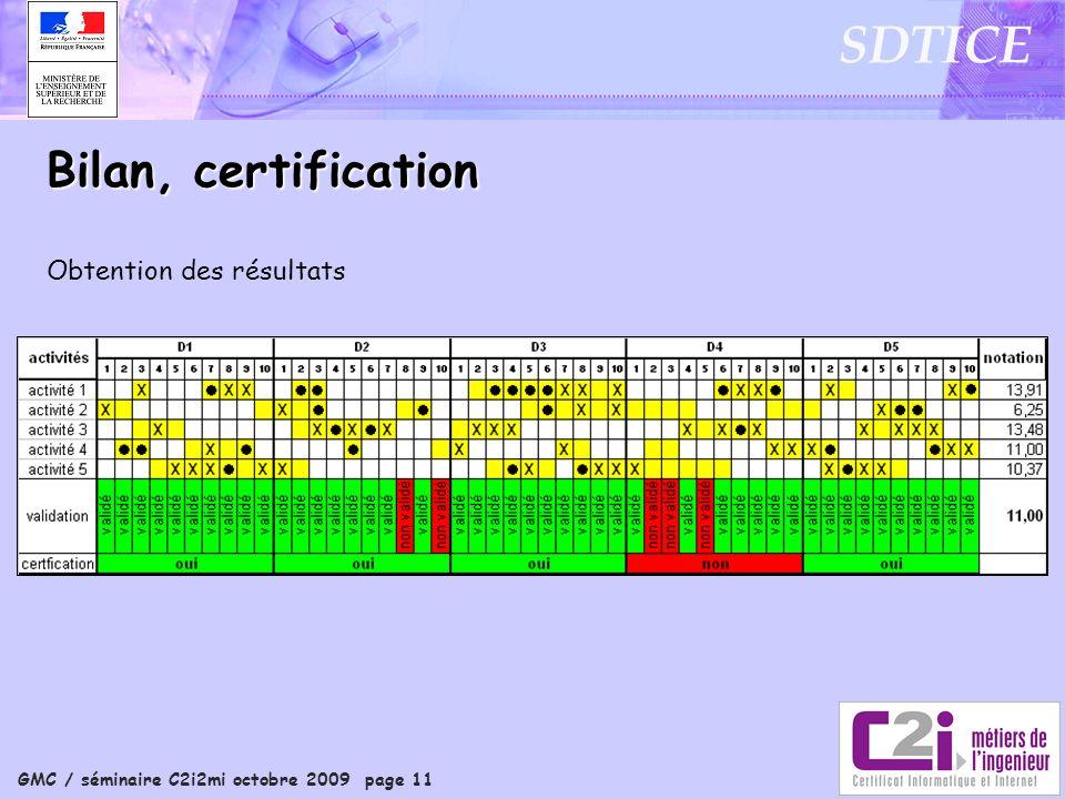 GMC / séminaire C2i2mi octobre 2009 page 11 SDTICE Obtention des résultats Bilan, certification
