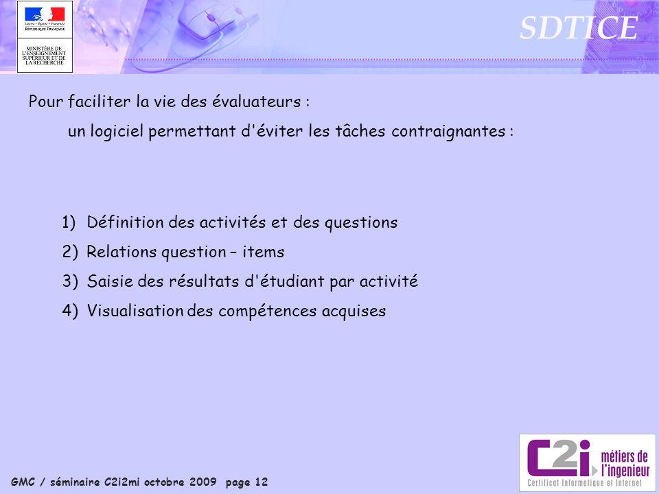 GMC / séminaire C2i2mi octobre 2009 page 12 SDTICE Pour faciliter la vie des évaluateurs : un logiciel permettant d'éviter les tâches contraignantes :