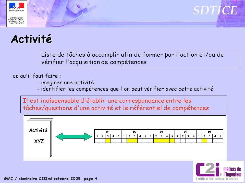 GMC / séminaire C2i2mi octobre 2009 page 4 SDTICE Activité Liste de tâches à accomplir afin de former par l'action et/ou de vérifier l'acquisition de