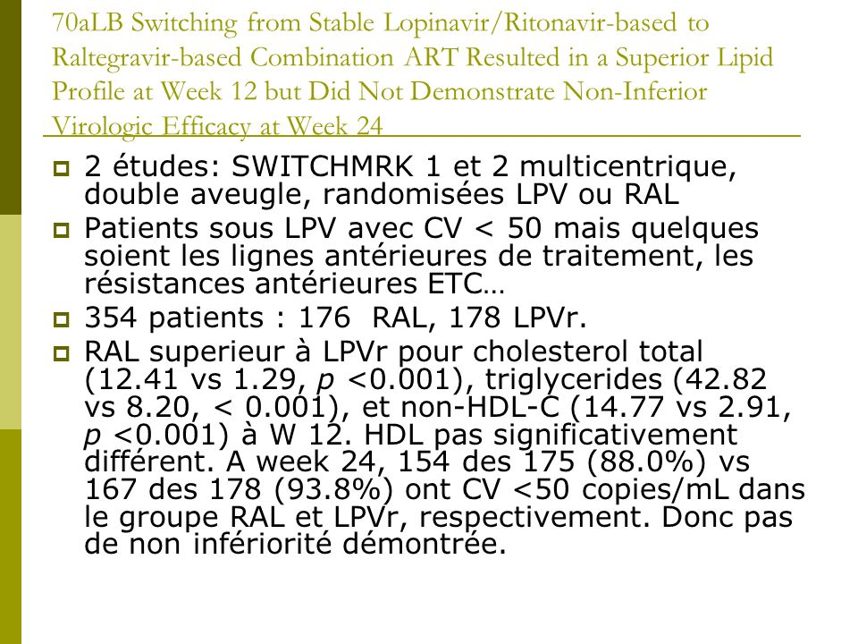 70aLB Switching from Stable Lopinavir/Ritonavir-based to Raltegravir-based Combination ART Resulted in a Superior Lipid Profile at Week 12 but Did Not Demonstrate Non-Inferior Virologic Efficacy at Week 24 2 études: SWITCHMRK 1 et 2 multicentrique, double aveugle, randomisées LPV ou RAL Patients sous LPV avec CV < 50 mais quelques soient les lignes antérieures de traitement, les résistances antérieures ETC… 354 patients : 176 RAL, 178 LPVr.