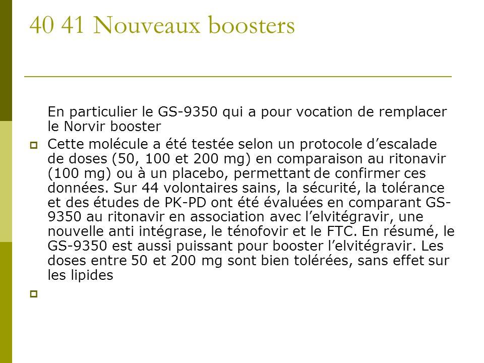 40 41 Nouveaux boosters En particulier le GS-9350 qui a pour vocation de remplacer le Norvir booster Cette molécule a été testée selon un protocole descalade de doses (50, 100 et 200 mg) en comparaison au ritonavir (100 mg) ou à un placebo, permettant de confirmer ces données.