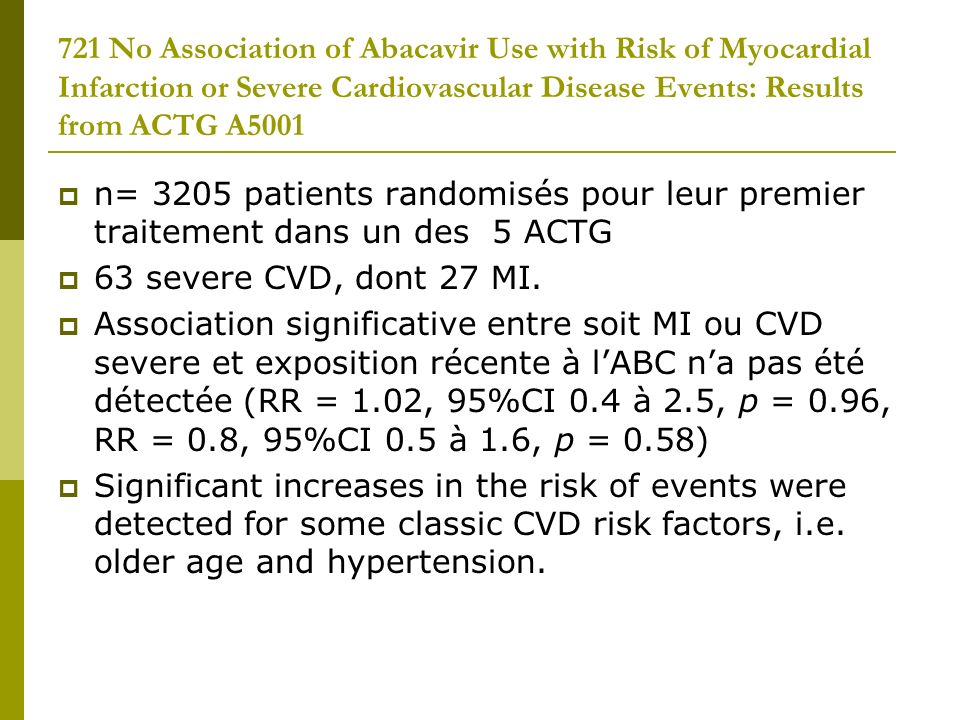 721 No Association of Abacavir Use with Risk of Myocardial Infarction or Severe Cardiovascular Disease Events: Results from ACTG A5001 n= 3205 patient