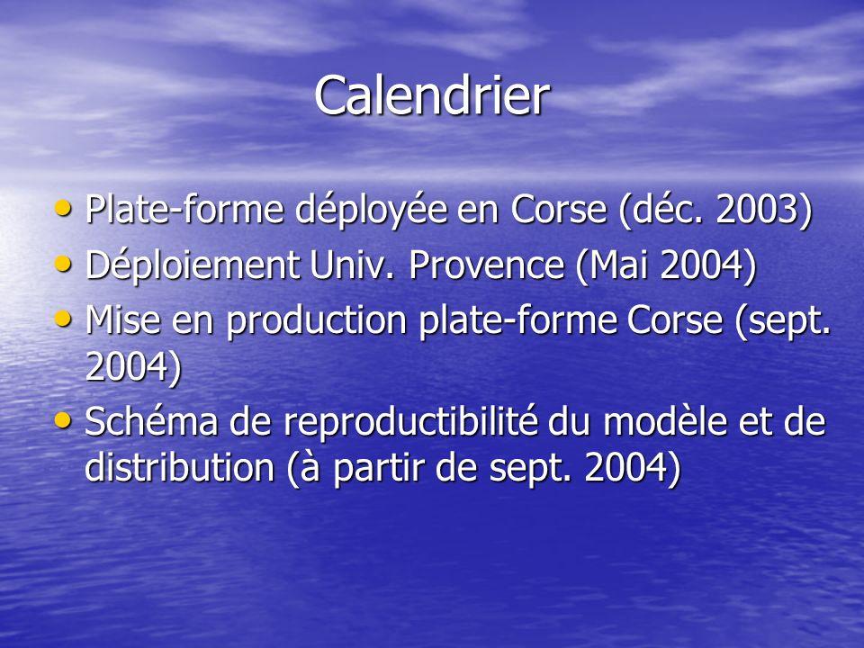 Calendrier Plate-forme déployée en Corse (déc. 2003) Plate-forme déployée en Corse (déc.
