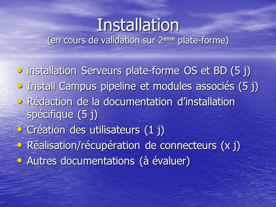 Installation (en cours de validation sur 2 ème plate-forme) installation Serveurs plate-forme OS et BD (5 j) installation Serveurs plate-forme OS et B