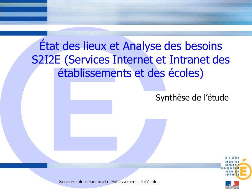 E Services internet-intranet détablissements et décoles Synthèse de létude État des lieux et Analyse des besoins S2I2E (Services Internet et Intranet