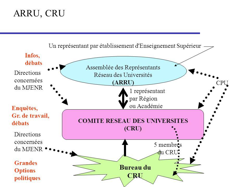 Assemblée des Représentants Réseau des Universités (ARRU) Un représentant par établissement d'Enseignement Supérieur COMITE RESEAU DES UNIVERSITES (CR
