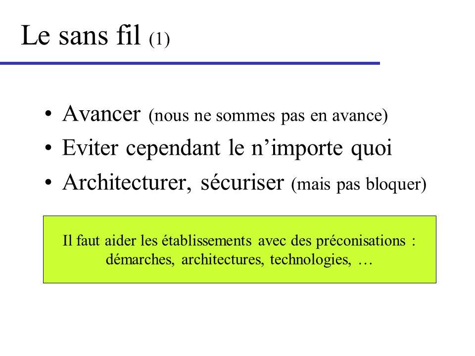 Le sans fil (1) Avancer (nous ne sommes pas en avance) Eviter cependant le nimporte quoi Architecturer, sécuriser (mais pas bloquer) Il faut aider les