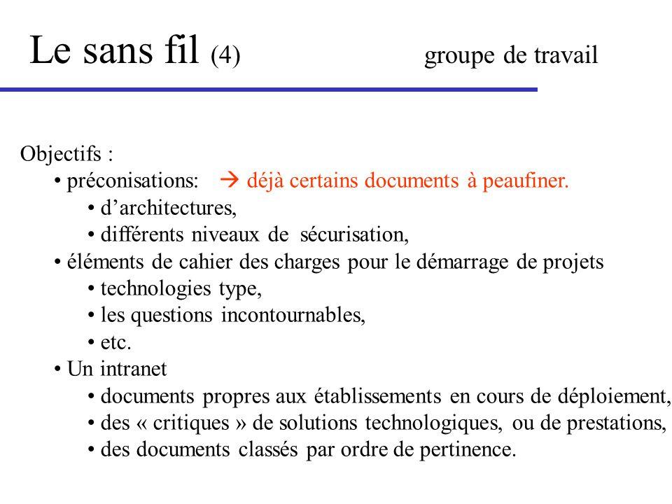 Le sans fil (4) groupe de travail Objectifs : préconisations: déjà certains documents à peaufiner. darchitectures, différents niveaux de sécurisation,