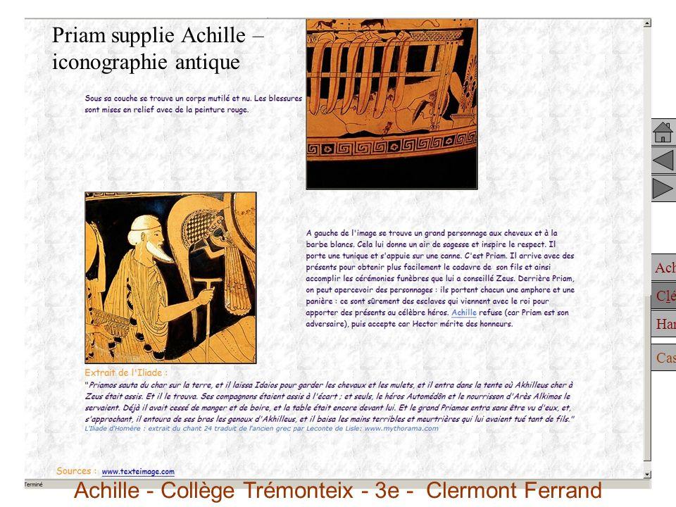 Achille Clélie Hannibal Casting Iconographie antique et moderne Priam supplie Achille – iconographie antique Achille - Collège Trémonteix - 3e - Clermont Ferrand