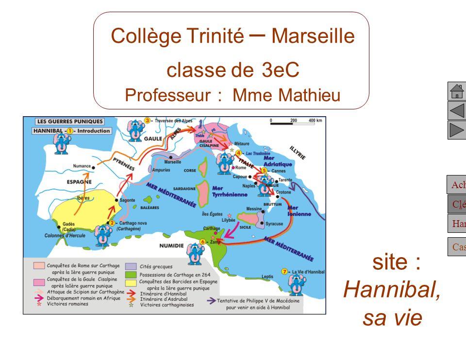 Achille Clélie Hannibal Casting Collège Trinité – Marseille classe de 3eC Professeur : Mme Mathieu site : Hannibal, sa vie