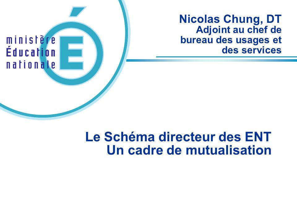 Le Schéma directeur des ENT Un cadre de mutualisation Nicolas Chung, DT Adjoint au chef de bureau des usages et des services