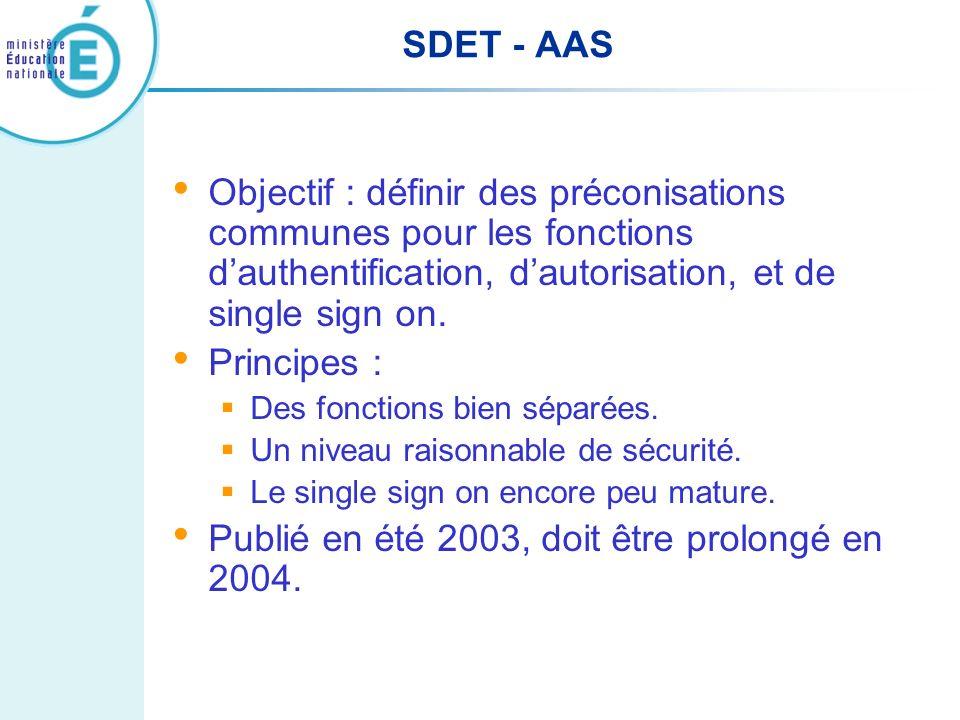 SDET - AAS Objectif : définir des préconisations communes pour les fonctions dauthentification, dautorisation, et de single sign on. Principes : Des f