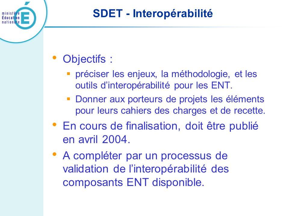 SDET - Interopérabilité Objectifs : préciser les enjeux, la méthodologie, et les outils dinteropérabilité pour les ENT. Donner aux porteurs de projets