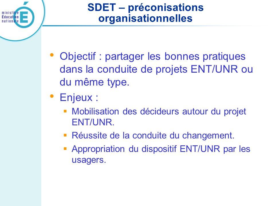 SDET – préconisations organisationnelles Objectif : partager les bonnes pratiques dans la conduite de projets ENT/UNR ou du même type. Enjeux : Mobili