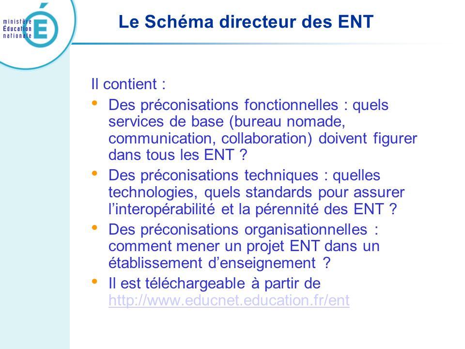 Le Schéma directeur des ENT Il contient : Des préconisations fonctionnelles : quels services de base (bureau nomade, communication, collaboration) doi