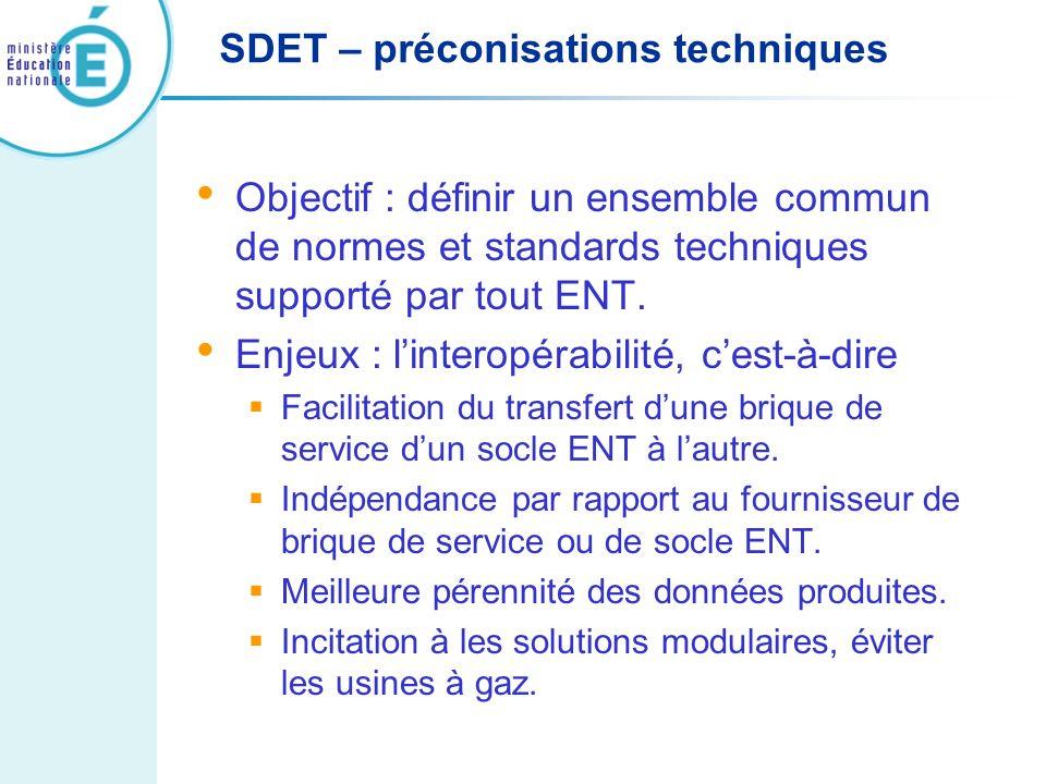 SDET – préconisations techniques Objectif : définir un ensemble commun de normes et standards techniques supporté par tout ENT. Enjeux : linteropérabi