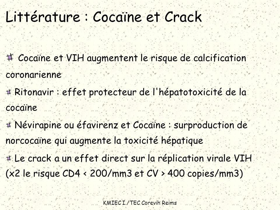 KMIEC I./TEC Corevih Reims Littérature : Cocaïne et Crack Cocaïne et VIH augmentent le risque de calcification coronarienne Ritonavir : effet protecte