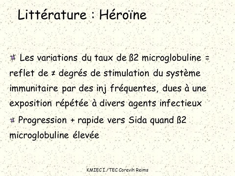 KMIEC I./TEC Corevih Reims Littérature : Héroïne Les variations du taux de ß2 microglobuline = reflet de degrés de stimulation du système immunitaire