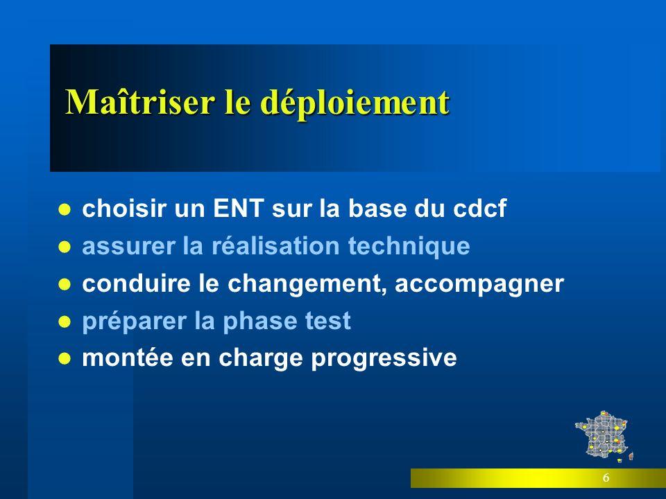 6 Maîtriser le déploiement choisir un ENT sur la base du cdcf assurer la réalisation technique conduire le changement, accompagner préparer la phase test montée en charge progressive
