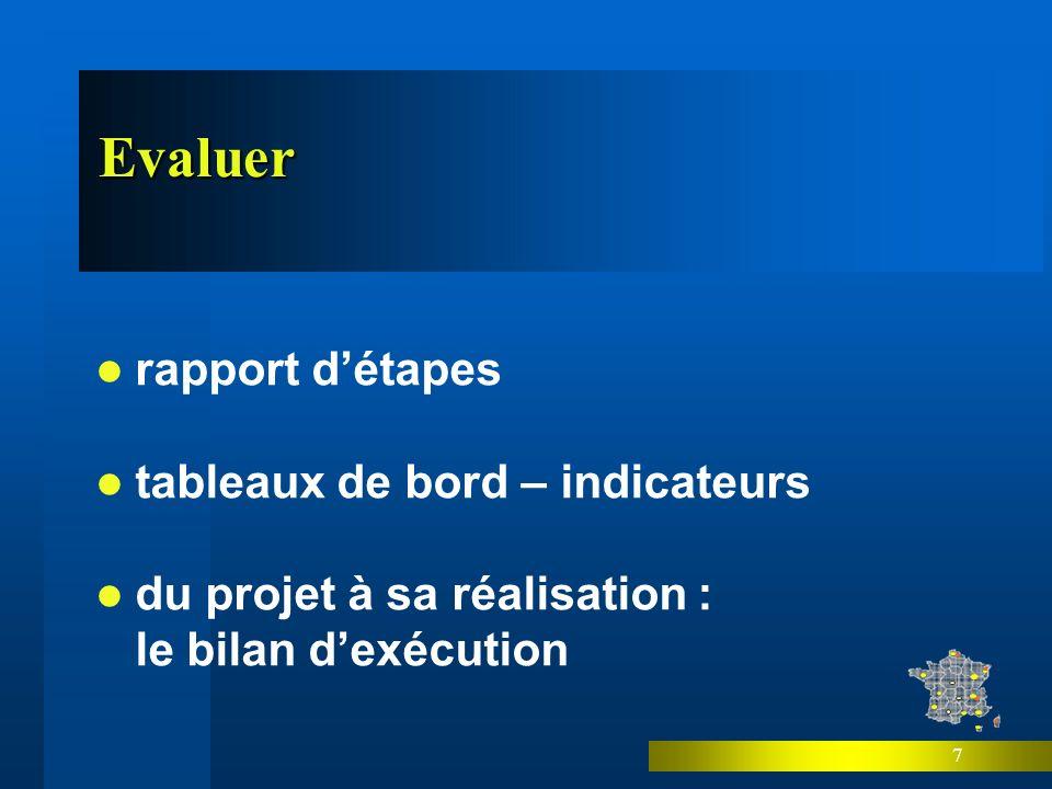 7 Evaluer rapport détapes tableaux de bord – indicateurs du projet à sa réalisation : le bilan dexécution
