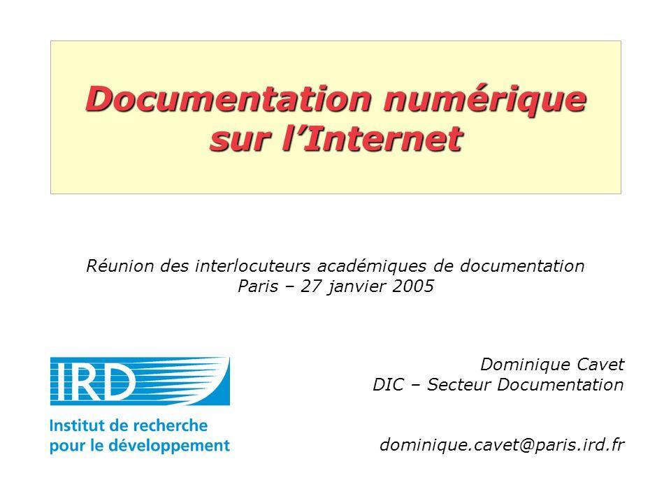 Documentation numérique sur lInternet Réunion des interlocuteurs académiques de documentation Paris – 27 janvier 2005 Dominique Cavet DIC – Secteur Documentation dominique.cavet@paris.ird.fr