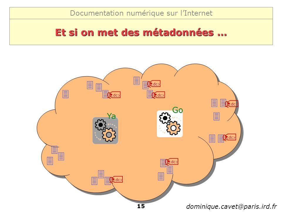 Documentation numérique sur lInternet dominique.cavet@paris.ird.fr 15 Et si on met des métadonnées … Ya Go <dc> <dc> <dc> <dc> <dc> <dc> <dc>