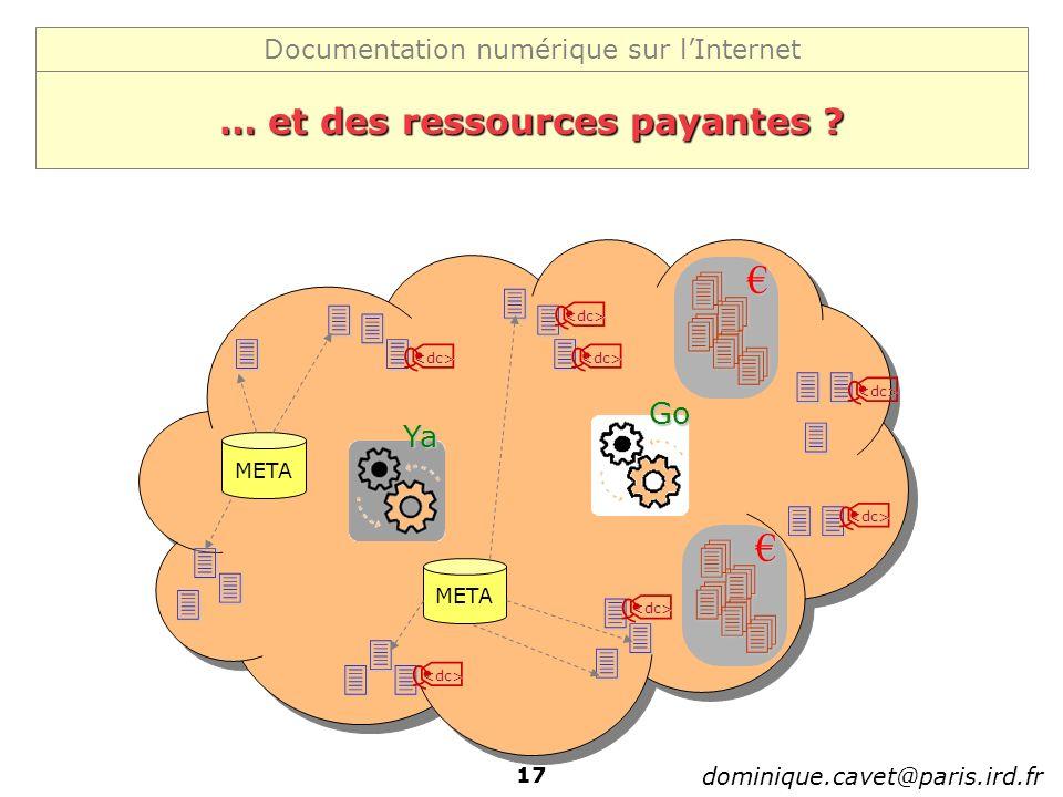 Documentation numérique sur lInternet dominique.cavet@paris.ird.fr 17 … et des ressources payantes ? Ya Go <dc> <dc> <dc> <dc> <dc> <dc> <dc> META