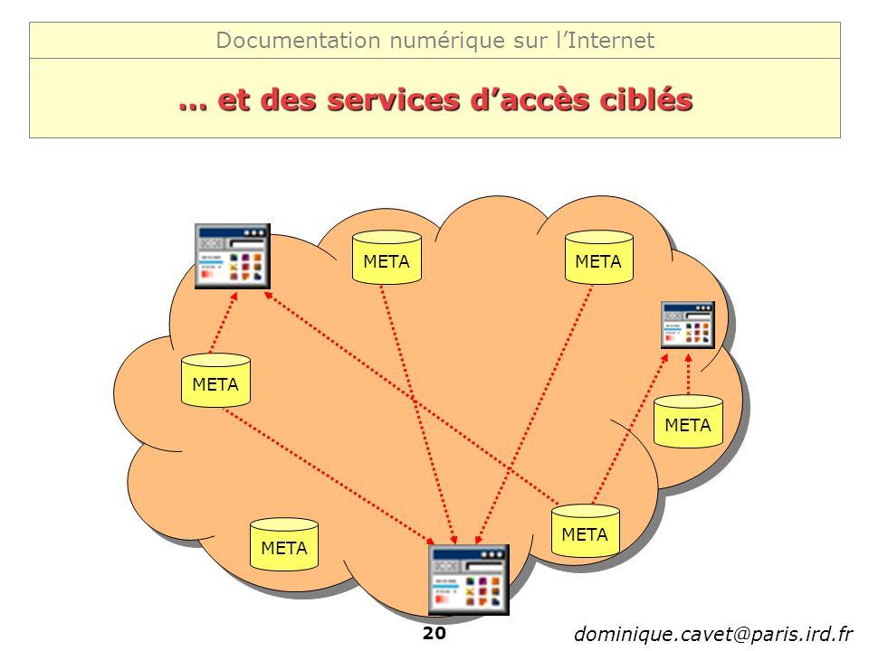 Documentation numérique sur lInternet dominique.cavet@paris.ird.fr 20 … et des services daccès ciblés META