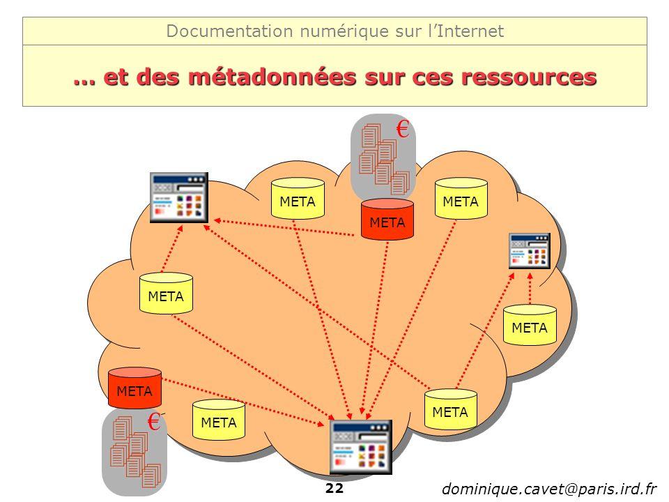 Documentation numérique sur lInternet dominique.cavet@paris.ird.fr 22 … et des métadonnées sur ces ressources META