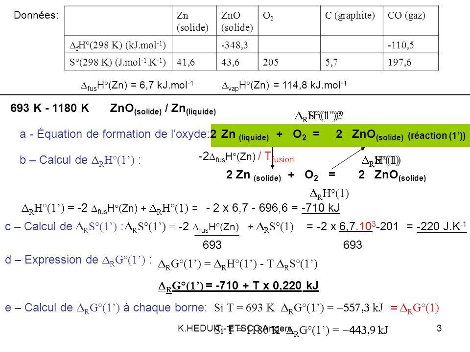 K.HEDUIT - ETSCO Angers4 Zn (solide) ZnO (solide) O2O2 C (graphite)CO (gaz) f H°(298 K) (kJ.mol -1 ) -348,3-110,5 S°(298 K) (J.mol -1.K -1 )41,643,62055,7197,6 fus H°(Zn) = 6,7 kJ.mol -1 vap H°(Zn) = 114,8 kJ.mol -1 Données: ZnO (solide) / Zn (gaz) 1180 K - 2000 K a - Équation de formation de loxyde:Zn (gaz) + O 2 = ZnO (solide) 22 (réaction (1)) b – Calcul de R H°(1) : R H°(1) = -2 vap H°(Zn) + R H°(1) = - 2 x 114,8 - 710= -939,6 kJ c – Calcul de R S°(1) : R S°(1)= -2 vap H°(Zn) + R S°(1) = -2 x 114,8.10 3 -220= -414,6J.K -1 d – Expression de R G°(1) : R G°(1) = R H°(1) - T R S°(1) R G°(1) = -939,6 + T x 0,415 kJ e – Calcul de R G°(1) à chaque borne: Si T = 1180 K R G°(1) = kJ Si T = 2000 K R G°(1) = kJ R H°(1).