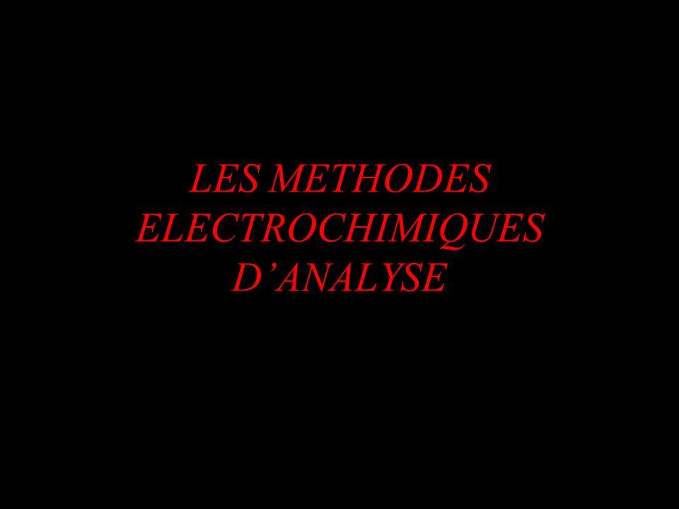 La potentiométrie à courant nul Méthode préconisée pour les systèmes rapides Electrodes de références: Calomel Sulfate mercureux Electrodes indicatrices: Pt Ag Ag-Hg Forme des courbes: Ve E V ou E V