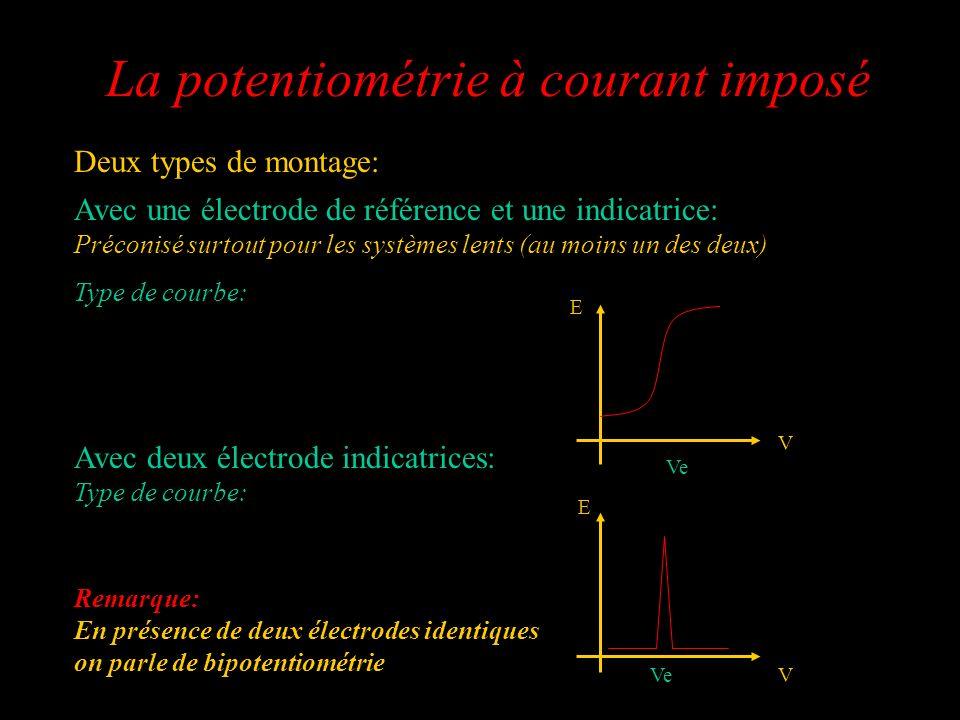La potentiométrie à courant imposé Deux types de montage: Avec une électrode de référence et une indicatrice: Préconisé surtout pour les systèmes lent
