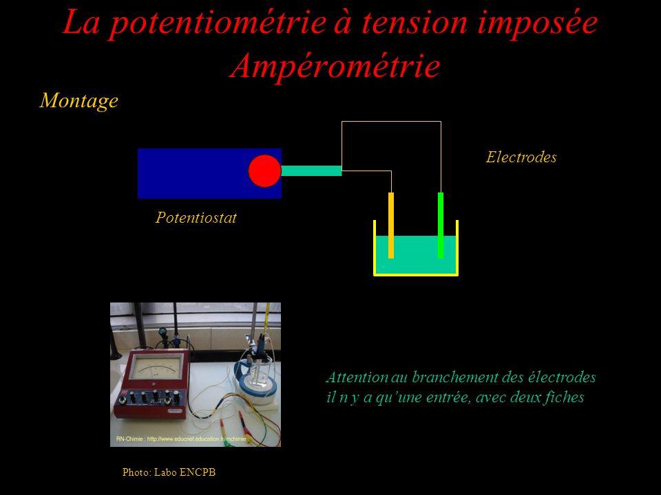 La potentiométrie à tension imposée Ampérométrie Montage Potentiostat Electrodes Attention au branchement des électrodes il n y a quune entrée, avec d