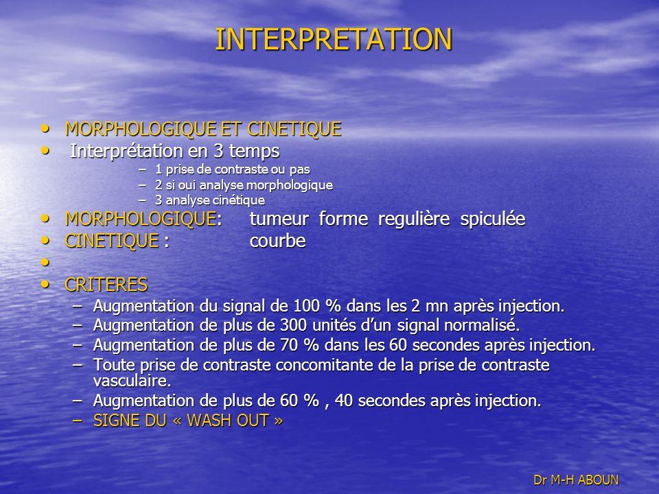 INTERPRETATION INTERPRETATION MORPHOLOGIQUE ET CINETIQUE MORPHOLOGIQUE ET CINETIQUE Interprétation en 3 temps Interprétation en 3 temps –1 prise de co