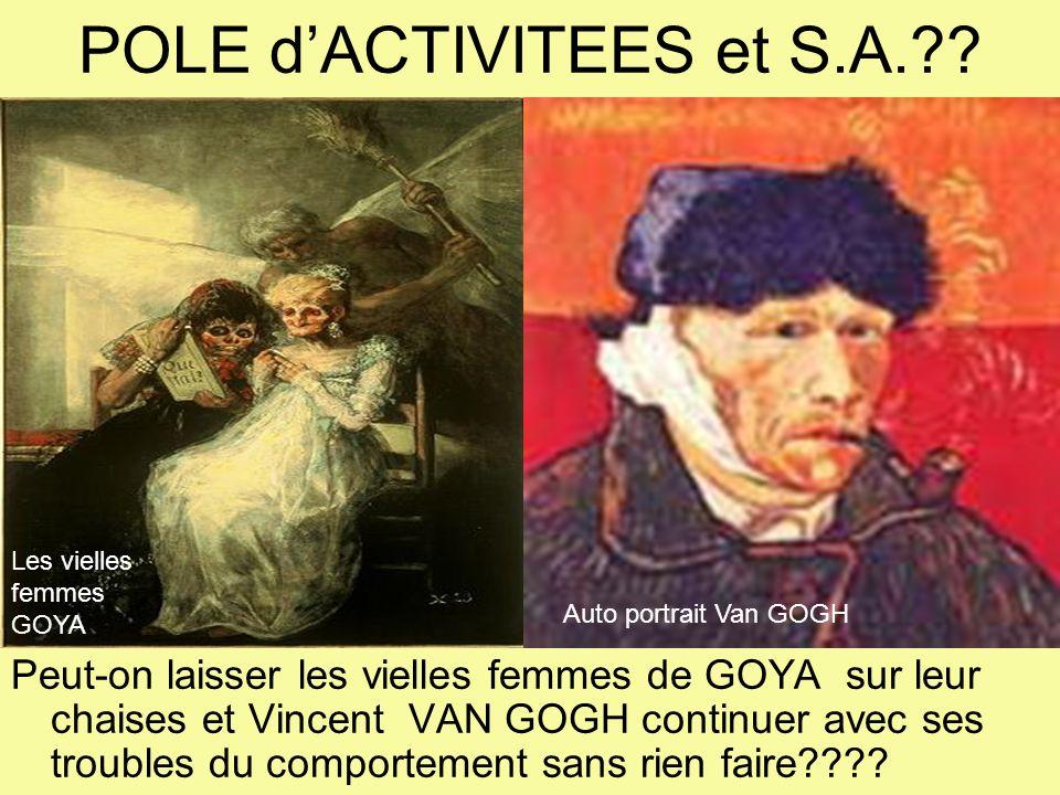 POLE dACTIVITEES et S.A.?? Peut-on laisser les vielles femmes de GOYA sur leur chaises et Vincent VAN GOGH continuer avec ses troubles du comportement