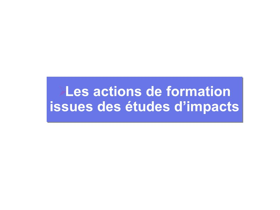 Les actions de formation issues des études dimpacts