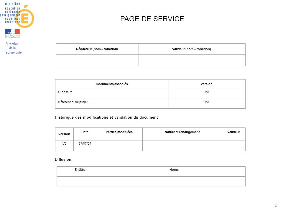 Direction de la Technologie 2 PAGE DE SERVICE Rédacteur (nom – fonction)Valideur (nom – fonction) Documents associésVersion GlossaireV0 Référentiel de projetV0 Historique des modifications et validation du document Version DateParties modifiéesNature du changementValideur V027/07/04 Diffusion EntitésNoms