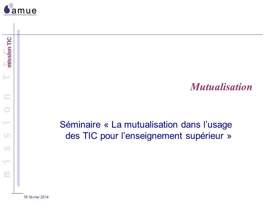 m i s s i o n T I C 18 février 2014 Mutualisation Séminaire « La mutualisation dans lusage des TIC pour lenseignement supérieur »