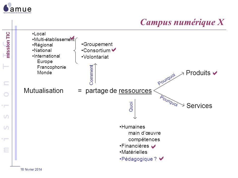 m i s s i o n T I C 18 février 2014 Mutualisation= partage de ressources Produits Services Groupement Consortium Volontariat Humaines main dœuvre comp