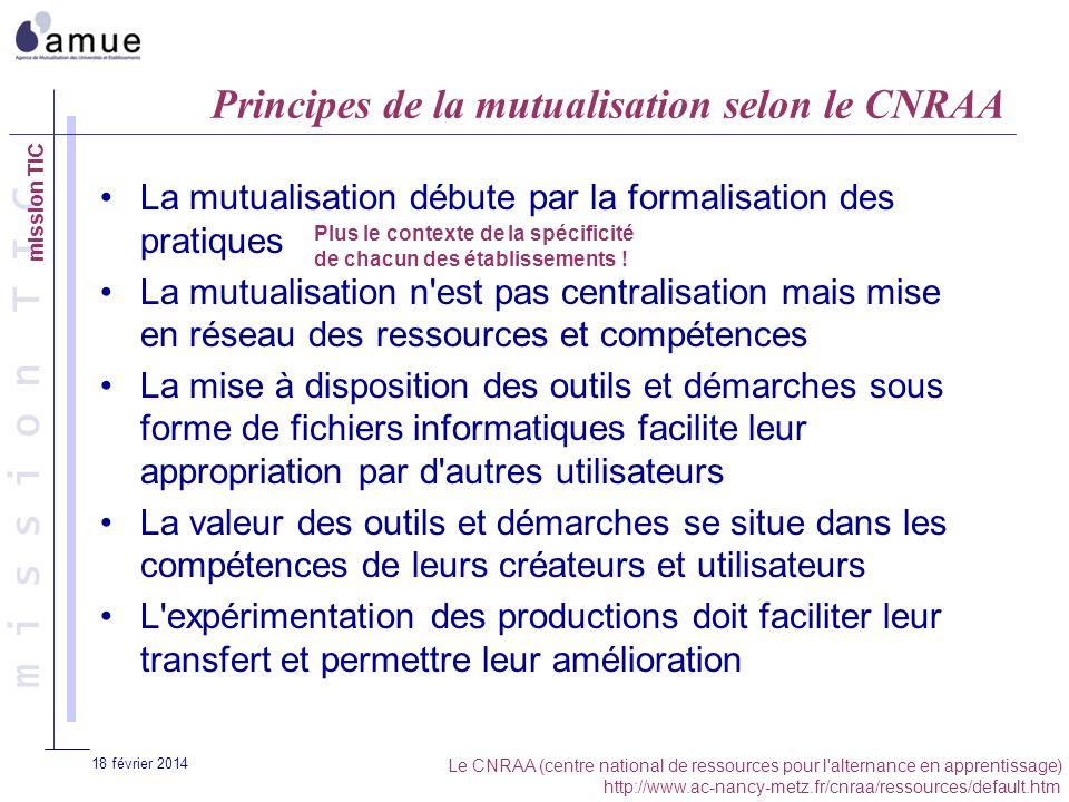 m i s s i o n T I C 18 février 2014 Principes de la mutualisation selon le CNRAA La mutualisation débute par la formalisation des pratiques La mutuali