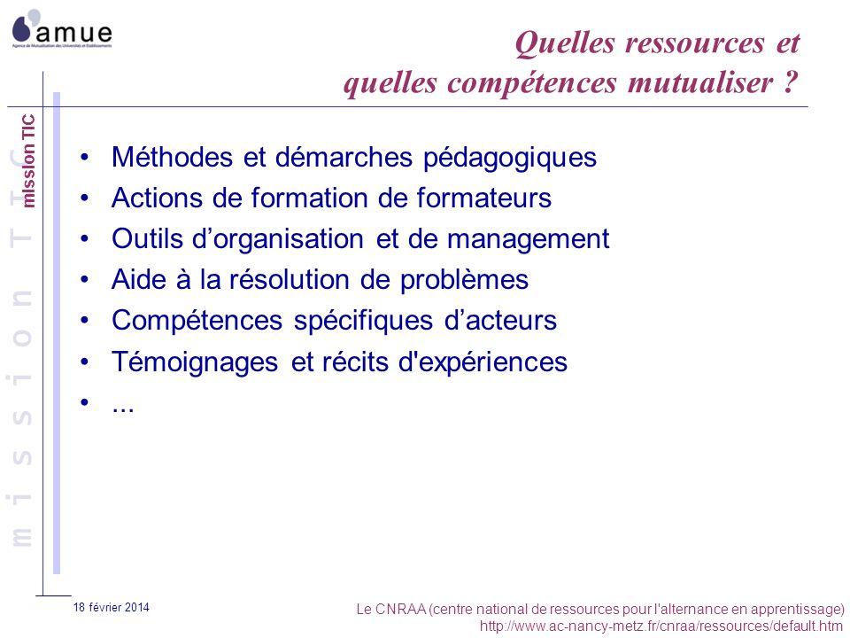 m i s s i o n T I C 18 février 2014 Quelles ressources et quelles compétences mutualiser ? Méthodes et démarches pédagogiques Actions de formation de