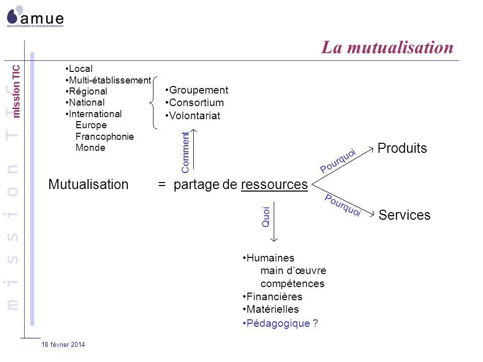 m i s s i o n T I C 18 février 2014 Mutualisation= partage de ressources Produits Services Pourquoi Humaines main dœuvre compétences Financières Matérielles Pédagogique .