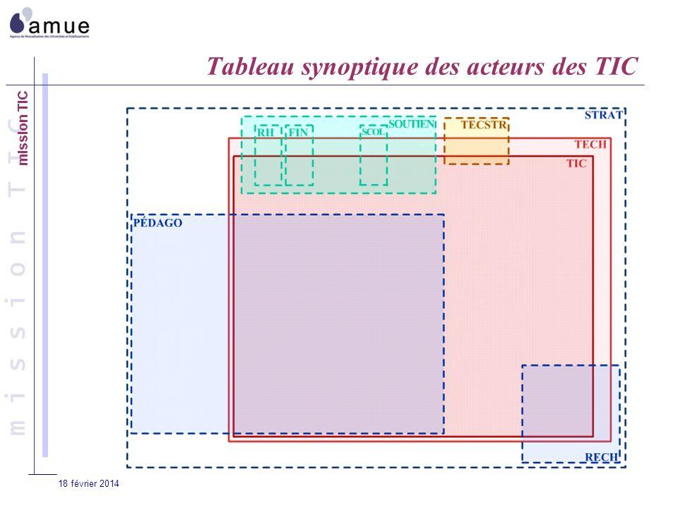 m i s s i o n T I C 18 février 2014 Tableau synoptique des acteurs des TIC