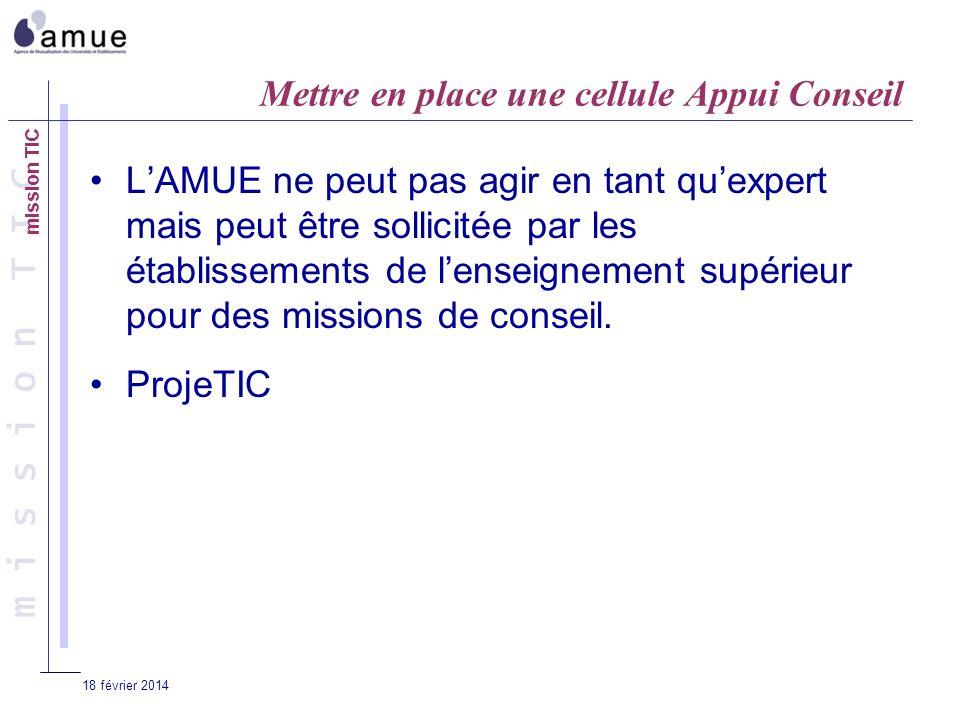 m i s s i o n T I C 18 février 2014 Mettre en place une cellule Appui Conseil LAMUE ne peut pas agir en tant quexpert mais peut être sollicitée par les établissements de lenseignement supérieur pour des missions de conseil.